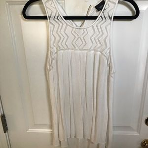 White sleeveless flowy top with zipper detail